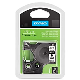 Dymo(R) Model 16955 Black-On-White Permanent Plastic Tape, 1/2in. x 18ft.