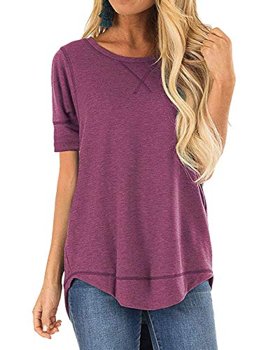 (Women's Summer Loose T Shirts Short Sleeve V Notch Plain Pullover Tunic Tops )