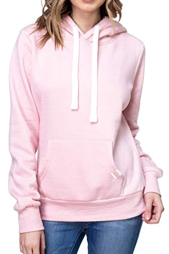 Urban Look Womens Active Long Sleeve Fleece Lined Fashion Hoodie Pullover (Medium, A1 Solid Blush Pink)