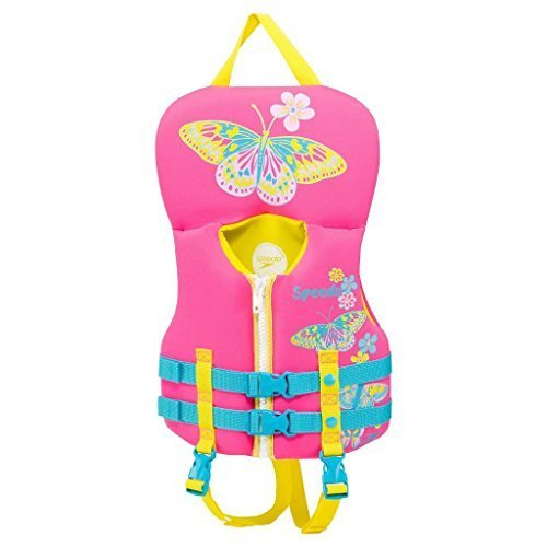 - Speedo Infant Girls Neoprene Personal Flotation Device Lifejacket Pink/Yellow Butterfly…