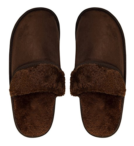 Peach Solid Relaxing Slippers Lined Nordic Fleece Couture Mens Style House Brown UwBqrOU