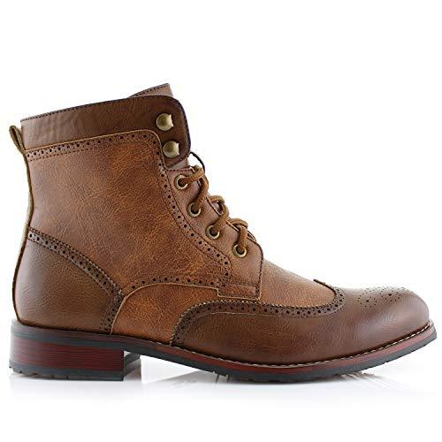 dfb3671ba378 Polar Fox Jonah MPX808567 Mens Casual Perforated High-Top Red Brogue  Wingtip Dress Boots –