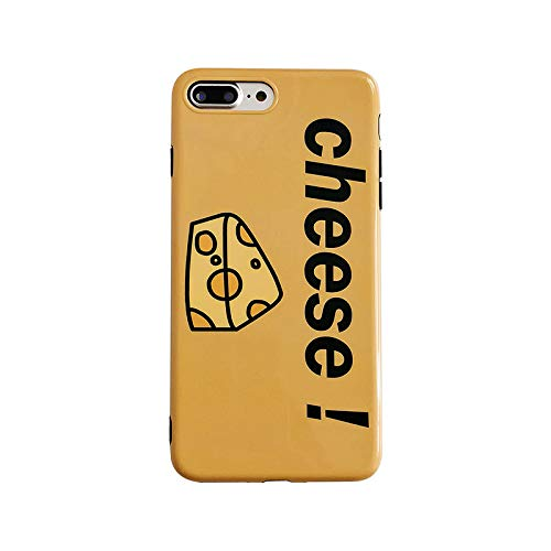 (for iPhone 8 Plus/7 Plus Case, Shinny Yellow Cheese Case Premium Soft Silicone Protective Fashion Case Cover for Foodies and Cheese Lovers, for iPhone 8 Plus & iPhone 7 Plus )