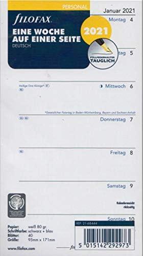 Filofax Personal 2021 A6 Kalender Wochenplaner 1Woche 1Seite Einlage Kalendarium deutsch 21-68444