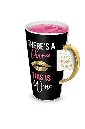 - Lady Jayne 13oz Spill Proof Ceramic Coffee Travel Mug with Lid Series (Lip Wine)