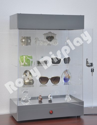ROXY DISPLAY® Jewelry Watch & Small Items Display Case with Built in LED Lights at Top and Door Lock. Assembled! (AD-F6804 Series) (Silver(F6804SL)) by Roxy Display