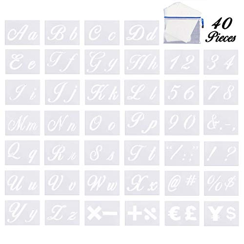 40 Pack Letter Stencils with Calligraphy Font Upper/Lower