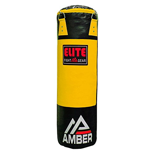 (Amber Elite Fight Gear Amber Elite Heavy Bag Boxing Muay Thai MMA Fitness Workout Training Kicking Punching Unfilled Empty Heavy Bag Yellow, 150lb )