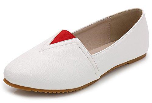 Low Flats Round Anti Shoes Loafers Cut Aisun Skid Comfy Slip Women's White on Toe Wqw1yRASH