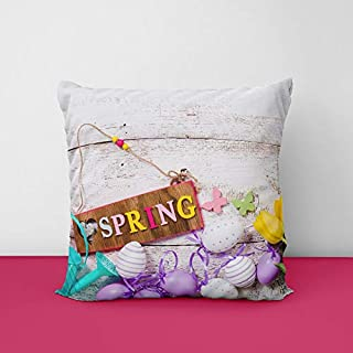 Easter Spring Eggs Word Square Design Printed Cushion Cover