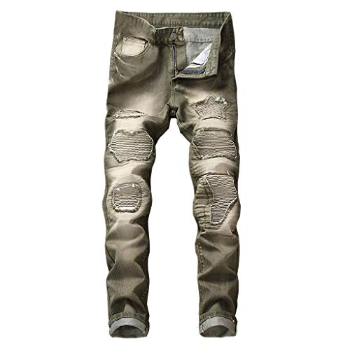 iHPH7 Jeans Men Relaxed Straight Jean Men Vintage Jeans Denim Folds Wash Work Frayed Trousers Zipper Basic Pants 38 ()