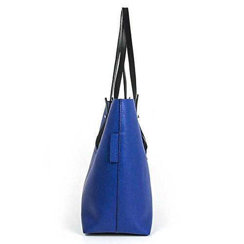 Gianni Chiarini - Shopping bag in pelle saffiano, Gianni Chiarini Capsule collections , made in Italy - Blu elettrico/Nero - BS5365IND-BLK-LH.MEDITERRANEO.BL - UNICA