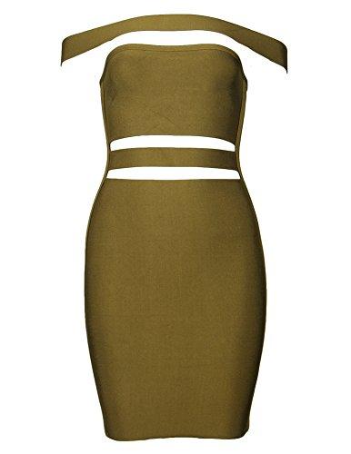 Bandage Olive Dress Shoulder Club Meilun The Slim Bodycon Womens Shoulder Off Off Party PzSqF