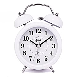 Slash 3 Vintage Retro Old Fashioned Quiet Non-ticking Sweep Second Hand, Quartz Analog Twin Bell Clock, Battery Operated, Loud Alarm, Nightlight Function (White) S10122