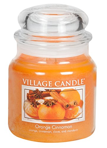 Village Candle Orange Cinnamon 16 oz Glass Jar Scented Candle, Medium by Village Candle