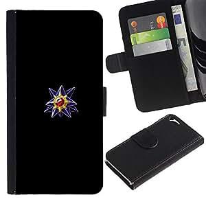 Protector de cuero de la PU de la cubierta del estilo de la carpeta del tirón BY RAYDREAMMM - Apple Iphone 5 / 5S - Meter la bola del monstruo púrpura de la gema