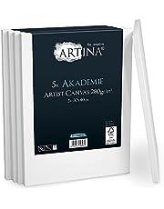 Artina Akademie FSC-gecertificeerd spieraam, set van 5, 30 x 40 cm, met 100% katoen canvas spieraam, wit, 280 g/m², zonder vervorming