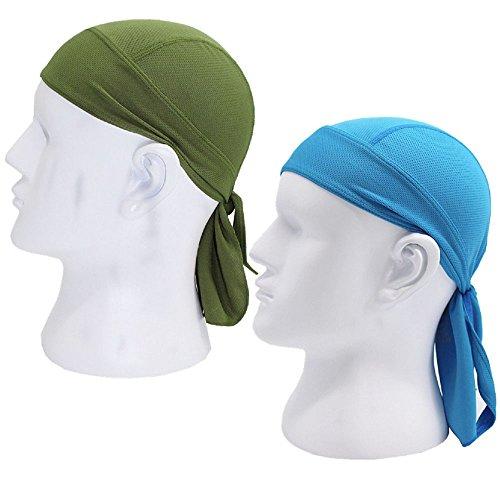76341d6dc03 2 Pack Sweat Wicking Dew Doo Rag Skull Cap Beanie Adjustable Hat Chemo Cap  Head Wrap For Men Women Outdoor Sport Cycling Running Riding Biking Skiing  Fit ...
