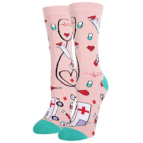 4759ed56a82 Women s Novelty Medical Crew Socks Funny Nurse Meds Cotton Socks in Pink