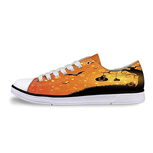 Halloween Soft Low Top Canvas ShoesMagical Fantastic Evil Night Icons Swirled Branches Haunted Forest Hill Decorative for Women,US 9 -