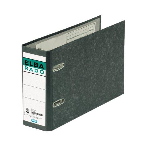 Elba 100202209 Ordner rado (A5 quer, Rückenbreite 7,5 cm, aufgeklebtem Rückenschild), schwarz