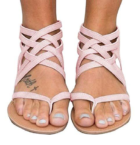 Xiakolaka Womens Strappy Sandals Flat Gladiator Cross Strap Thong Toe Shoes Pink -