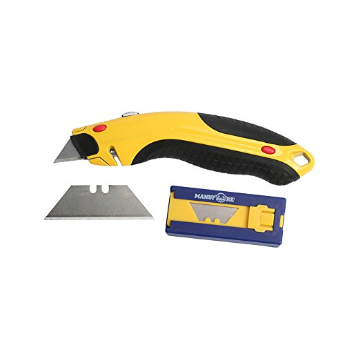MANUFORE 3 Pack Heavy-Duty Retractable Blades Auto-Loading Utility Knife with Spare Blades Box Auto Loading Utility Knife