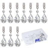 Swpeet 10Pcs Cucurbit Tablecloth Weights with 10Pcs Metal Clip Kit, Crystal Glass Teardrop Prisms Pendant Tablecloth Weights for Picnic Tables Tablecloth Weights Heavy Outdoor