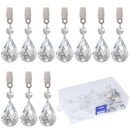 (Swpeet 10Pcs Cucurbit Tablecloth Weights with 10Pcs Metal Clip Kit, Crystal Glass Teardrop Prisms Pendant Tablecloth Weights for Picnic Tables Tablecloth Weights Heavy Outdoor)
