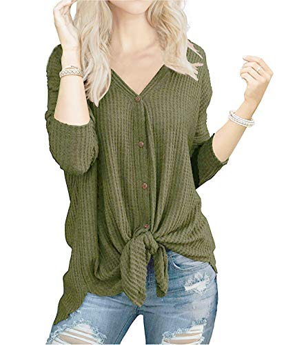 Womens Vintage Loose fit Tunic Blouse Tie Knot Henley Tops Bat Wing Plain Shirts