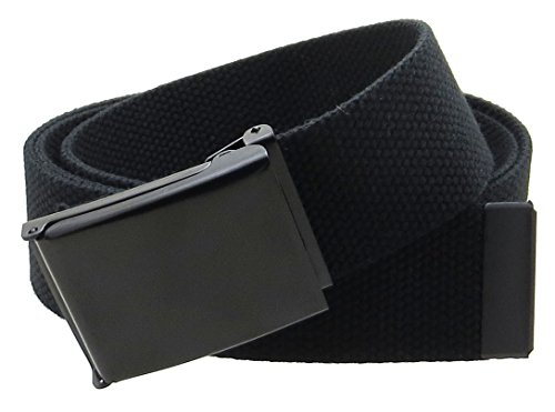 "Canvas Web Belt Flip-Top Black Buckle/Tip Solid Color 50"" Long 1.5"" Wide (Black)"