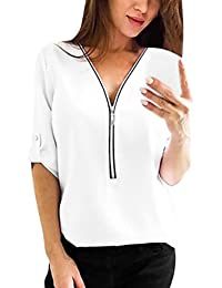 Clearance!! Women Fashion Tee Shirt,Lelili Sexy Long Sleeve V Neck Zip Up Shirt Casual Blouse Tops