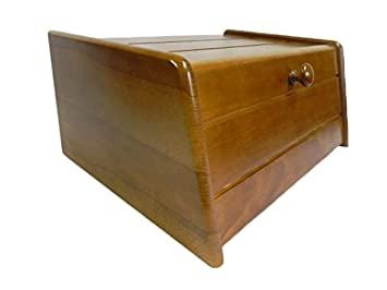 Wooden Bread Bin With Roll Top Or Drop Down Door Box For Storage Loaf  Kitchen 24