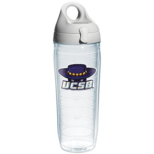 Tervis 1073725 Ca University Santa Barbara Emblem Individual Water Bottle with Gray lid, 24 oz, Clear