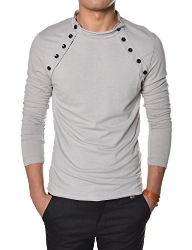 TheLees (VT07) Mens Casual Long Sleeve Button Point Round neck Tshirts Gray US M(Tag size XL)