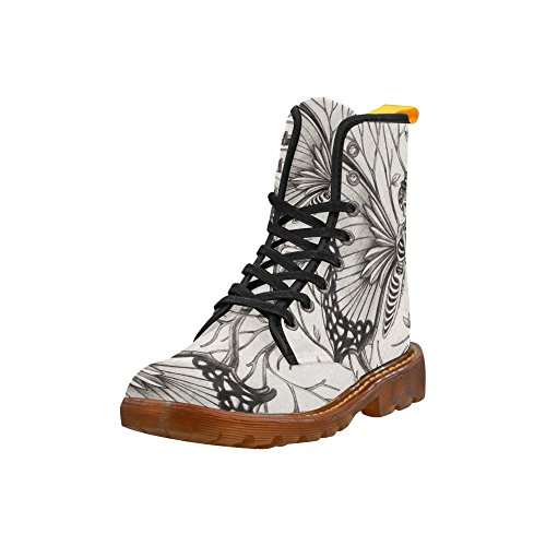 D-story Shoes Skull Day Of The Dead Lace Up Martin Boots Per Le Donne