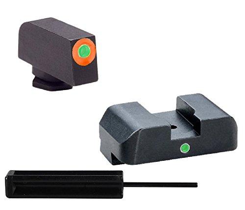 "AmeriGlo GL-203 Glock 20, 21, 29, 30, 31, 32, 36, 40, 41 I-Dot Set Orange Outline, 140"" Wide Front, 180"" Notch, Green Tritium I-Dot Rear + Ultimate Arms Punch Tool"