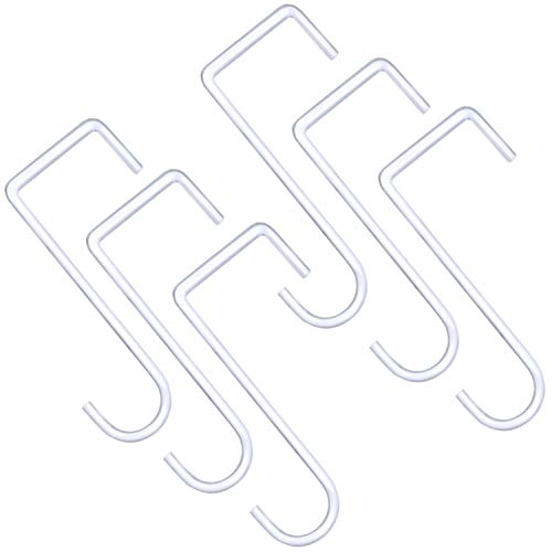 ESFUN 6 Pack 3 x 8 inch Heavy Duty Fence Hooks Patio Hooks White Powder Coated Steel Hangers fits Easily for Indoor & Outdoor Hanging Lights, Plants & Planters, Bird Feeder, Pool Equipment