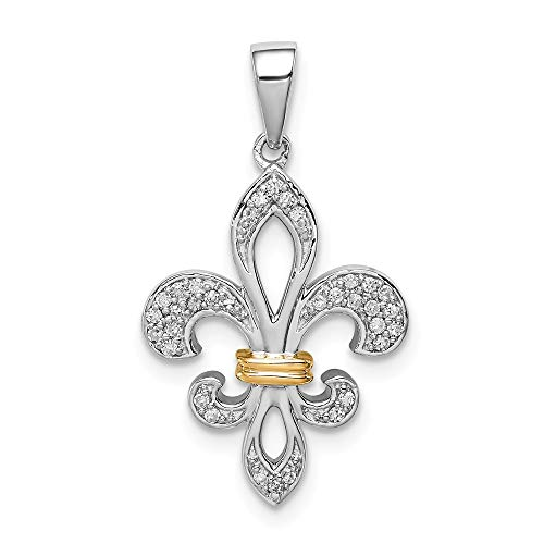 925 Sterling Silver 14k Two Tone Yellow Gold Fleur De Lis Pendant Charm Necklace Fine Jewelry Gifts For Women For Her