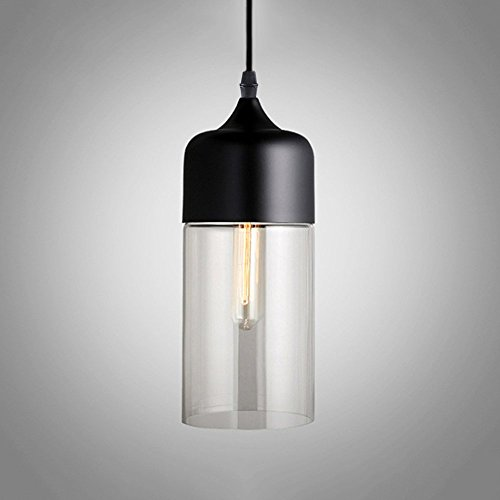 Frideko Creative Modern Glass Loft Lamp Shade Ceiling Pendant Light for Restaurant Coffee Shop Bookstore Cafe Dining Room (Type C, Black & Clear) - Down Pendant Light Set