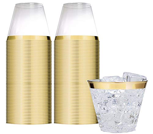 Elegant Gold Rimmed 9 Oz Clear Plastic Tumblers Fancy Disposable Cups with Gold Rim Prefect for Holiday Party Wedding and Everyday Occasions 100 Pack - Stock Your Home