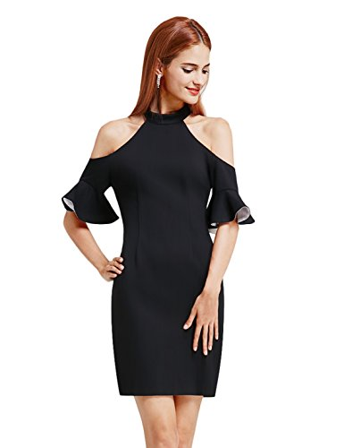 Ever-Pretty Women's Halter Off Shoulder Little Black Dress Ruffle Sleeve Cocktail Dresses 6 US Black (Ruffle Halter Cocktail Dress)