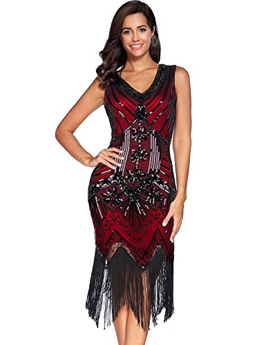 Comeon Sequin Dress,Womens Retro V Neck 1920s Sequined