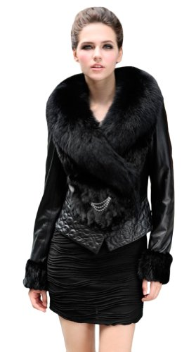 Queenshiny Women's 100% Real Mink Fur and Sheep Leather Coat Jacket with Big Fox Collar-Black-M(8-10)