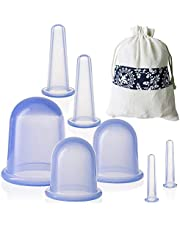 JHuuu 7PCS Chinese Silicone Anti Cellulite Vacuum Cup Cupping Therapy Sets Home Use Facial and Body Massage Cups Face Cupping Set with Cloth Bag for Muscle Pain Relief Cellulite Treatment