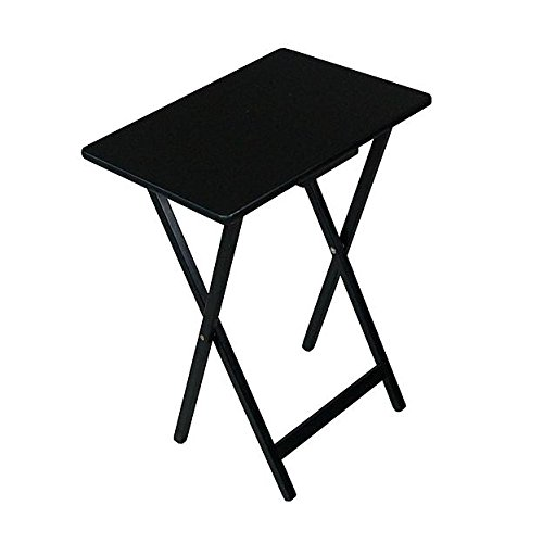 Folding Wooden Portable TV Table Tray (Black) (Black Snack Table Set)