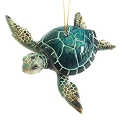 Beach Themed Christmas Ornaments Christmas Ornaments – Home Decor – Hand-Painted Blue Sea Turtle – Best for Tree Hanging, Bathroom Decorations, Stocking… beach themed christmas ornaments