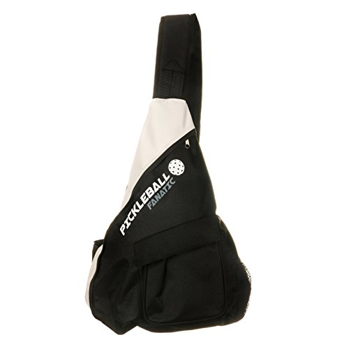 (Pickleball Fanatic Sling Bag with Pockets for Paddles, Balls, Gear, and Water Bottle (Gray/Black) )