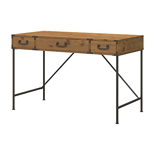 kathy ireland Office Ironworks 48W Writing Desk in Vintage Golden Pine