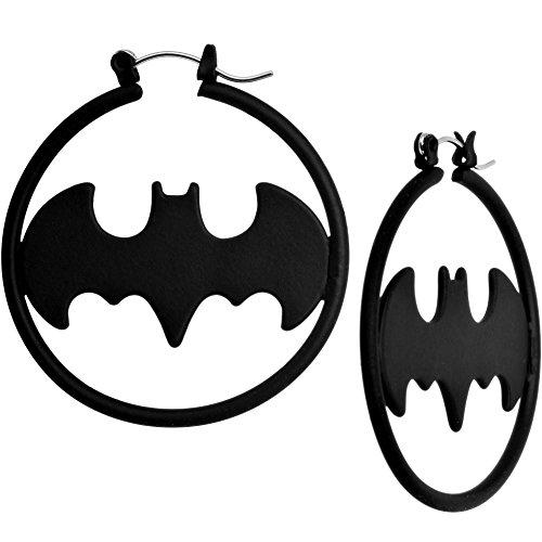 Black Matte Logo Batman Hoop Earrings
